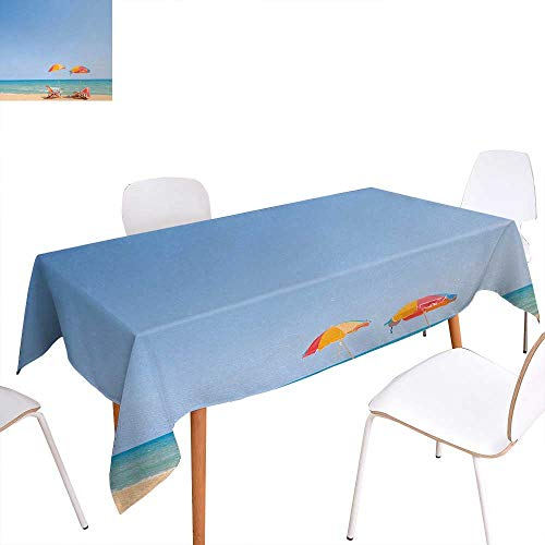 Warm Family Seaside Printed Tablecloth Beach Chair Umbrella on Beach Leisure Tourist Attractions Decorative Photo Rectangle Tablecloth 52