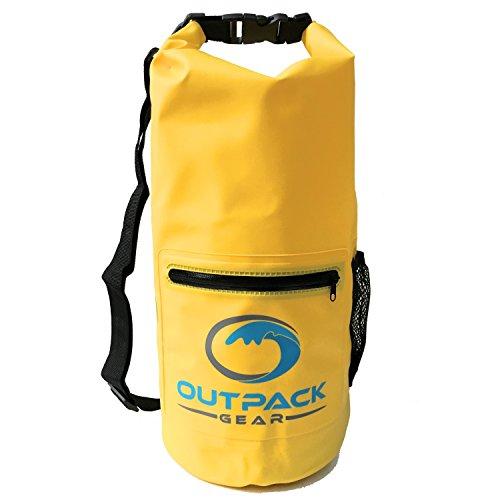 Outpack Gear Dry Bag Waterproof Backpack | Lightweight Daypack Sport Sackpack | Roll Top, Zip Pocket, Water Bottle Holder, Shoulder Straps | Kayaking Beach Boating Gym Hiking Swim Camping | - Paddles Swim Best