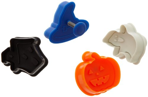 (Ateco 1992 Halloween Themed Plunger Cutters, Set of 4 Shapes for Cutting Decorations & Direct Embossing, Spring-loaded Handle, Food Safe)