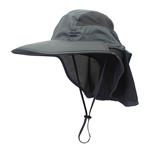 Outdoor Sun Hat UPF 50+ Mesh Summer Protection Cap with Neck Flap Breathable Packable Hunting Fishing Beach for Men & Women Dark Gray