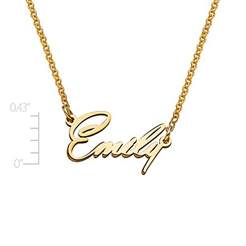 (Name Necklace Pendant Tiny Name Necklace -Extra Strength Personalized Custom Inscribed Pendant Jewelry(18k rose-gold-plated-base 18