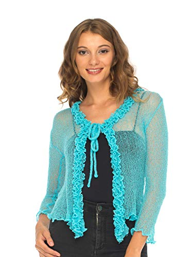 SHU-SHI Womens Sheer Shrug Cardigan Sweater Lightweight Knitted with Ruffle Solid Colors Turquoise