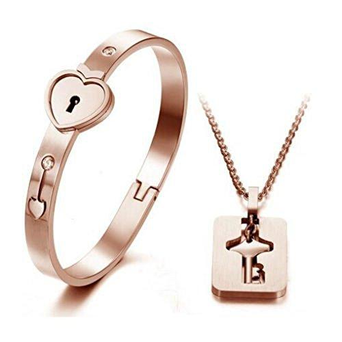 heart-lock-love-bracelet-bangle-key-necklace-men-women-couple-lover-jewelry-set-rose-gold-white-silv