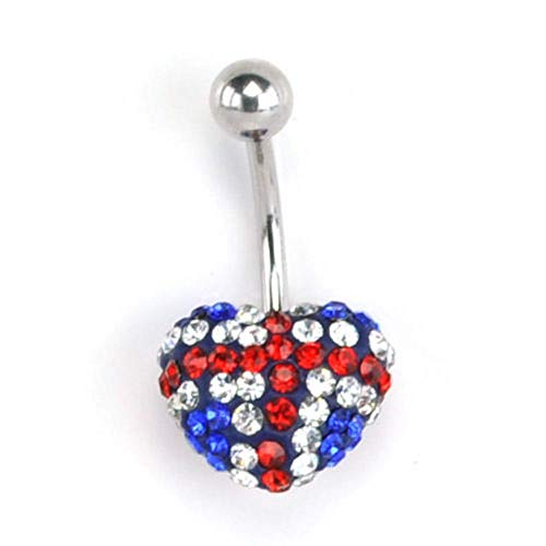 1 Pcs UK British Flag Heart CZ Belly Navel Ring Stainless Steel Curved Banana Barbell