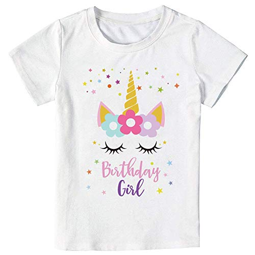 - YOUNGER TREE Baby Kids Girls Unicorn Birthday Star T-Shirt, Unicorn Outfit Gifts for Girls Short Sleeve Top (Unicorn Birthday t-Shirt, 5-6Y)