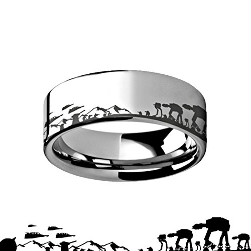 Thorsten Hoth Battle Star Wars Alliance Galactic Imperial Invasion ATAT ATST Tungsten Engraved 6mm Band Ring by from Roy Rose Jewelry
