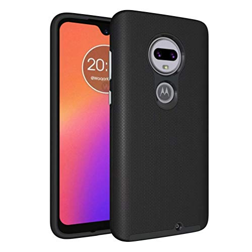 Price comparison product image Moto G7 Case, Moto G7 Plus [Non-slip] [Drop Protection] [Shock Proof] [Dual Lawyer] Hybrid Defender Armor Full Body Protective Rugged Holster Case Cover for Motorola Moto G7 / G7 Plus Black