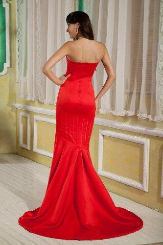 Schlepp Meerjungfrau BRIDE Rot GEORGE Kapelle Satin Entwurfs Einfacher Abendkleid pvYnqw6A