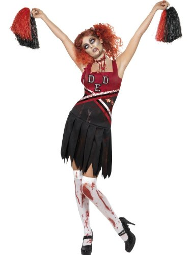 [Smiffy's Women's High School Horror Cheerleader Costume, Dress and Pom Poms, High School Horror, Halloween, Size 14-16,] (High School Zombie Costumes)