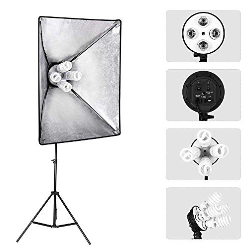 MOUNTDOG 2400W Softbox Photography Lighting Kit 20'x 28' Softbox3 4 Socket Professional Continuous Light Set 12X45W E27 5500K Bulbs for Portrait Photo Video Shooting by MOUNTDOG (Image #8)