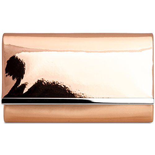 Rose Gold Clutch Chain TA378 Metallic Enevlope with and Patent Leather Evening Bag Stylish CASPAR Ladies wOqIgIf6