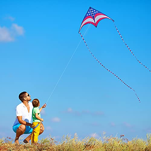 Motiloo American Flag Kite for Kids Adults Easy to Fly,Large Delta Kite Length 63