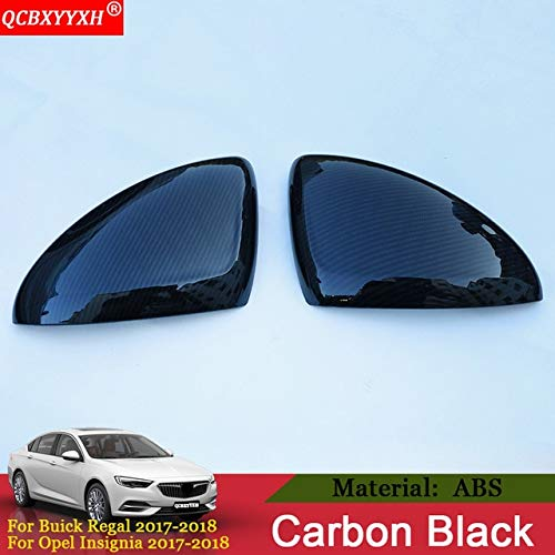 (Pukido QCBXYYXH Car Styling Auto Rearview Mirror Cover Frame Sticker Sequin Exterior Decoration for Buick Regal 2017 2018 Opel Insignia - (Color: Carbon Black))