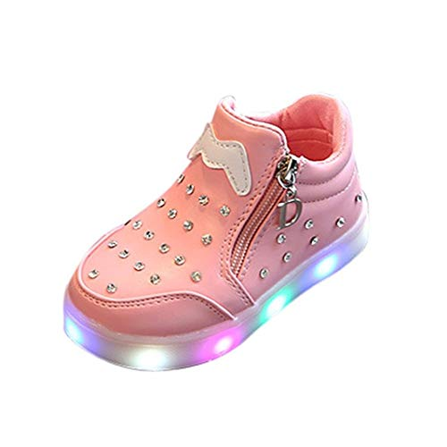 (Fineser(TM Kids Girls LED Light Up Luminous Crib Shoes Child Lace up Colorful Light Flashing Sneakers (Age:2.5-3T/ US:7, Pink))
