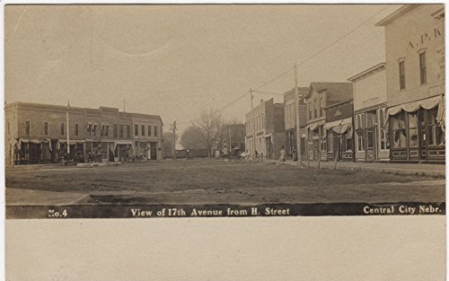 Real Photo Postcard View of 17th Avenue from H Street in Central City, Nebraska