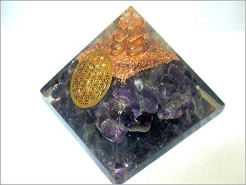 Jet Amethyst Flower of Life Orgone Pyramid