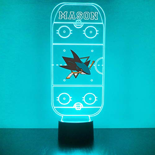 San Jose Handmade Acrylic Personalized Sharks Hockey Rink Hockey Rink LED Night Light - Remote, 16 Color Option, Great Personalized Gift, Engraved