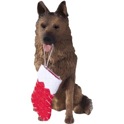 Sandicast German Shepherd with Stocking Christmas Ornament ()