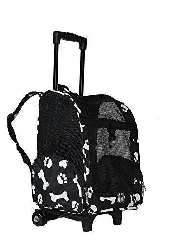 lcm portable small pet carrier backpack with wheels carry on mesh luggage black with white paws. Black Bedroom Furniture Sets. Home Design Ideas