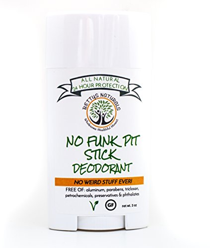 No Funk Pit StickTM All Natural Deodorant, Aluminum Free, Gluten Free, Vegan, 24 hour odor protection; with zinc oxide, Bentonite clay and essential oils (Clay No Chemical)