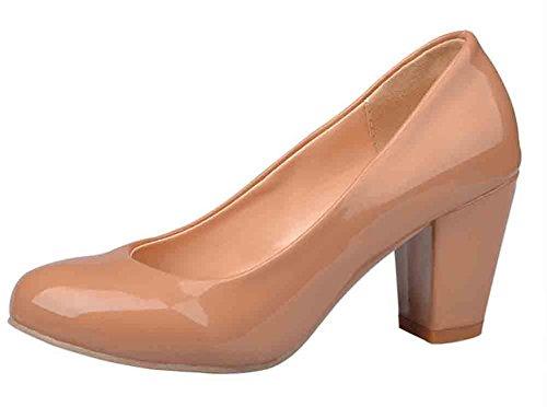 Easemax Women's Graceful Round Toe Low Cut Slip-on High Block Heel Pumps Shoes Apricot 13 B(M) US