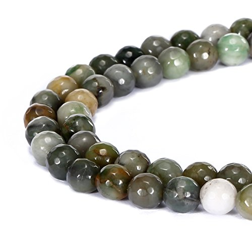 Chinese Crystal Round Beads Faceted (BRCbeads Gorgeous Natural Chinese Sinkaing Jade Gemstone Faceted Round Loose Beads 10mm Approxi 15.5 inch 35pcs 1 Strand per Bag for Jewelry Making)