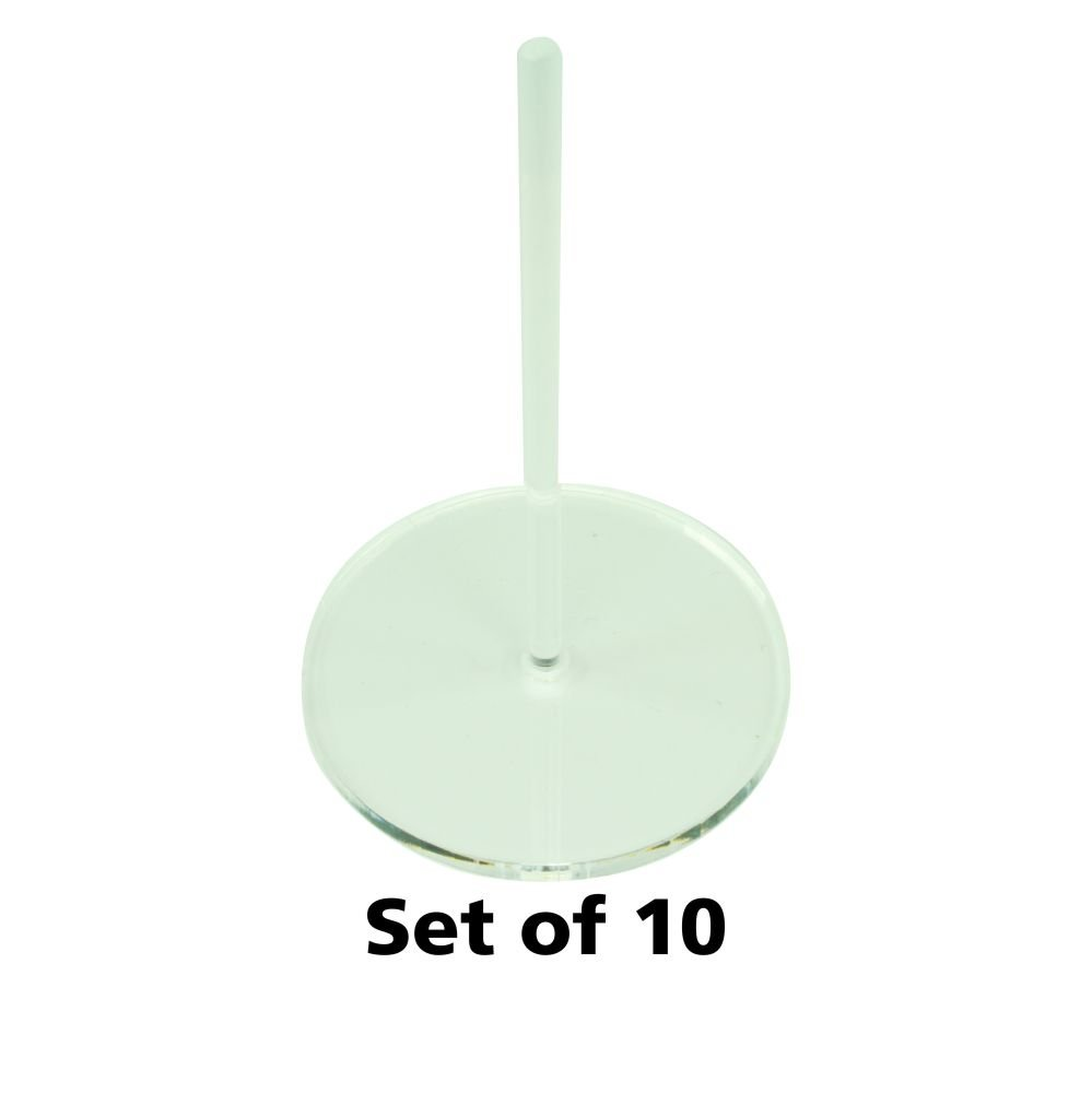 Acrylic Flight Stands, 50mm Circle, 3mm Clear, 3 inch Peg (10)