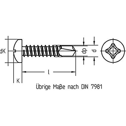 Bohrschrauben mit Linsenkopf M-H galv verzinkt DIN 7504-3,5 x 32-1000 St/ück