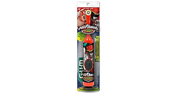 Amazon.com: GUM Power Rangers Kids Power Toothbrush with Suction Cup Base for Children Ages 4+, Soft Bristles: Beauty