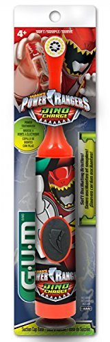 GUM Power Rangers Kids Power Toothbrush with Suction Cup Base for Children Ages 4+,