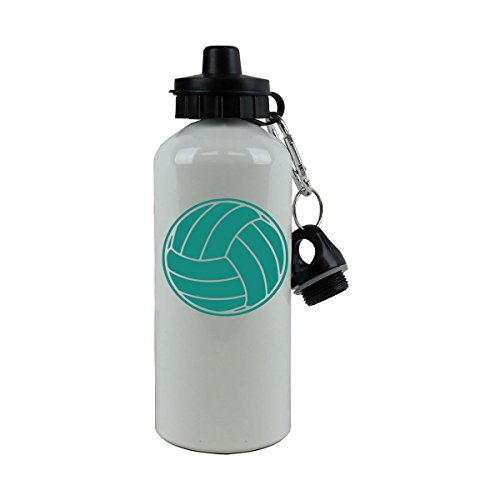 Personalized Custom Volleyball Aluminum White 20 Ounce 600ML Sport Water Bottle, 2 Lids, Customizable (Teal)