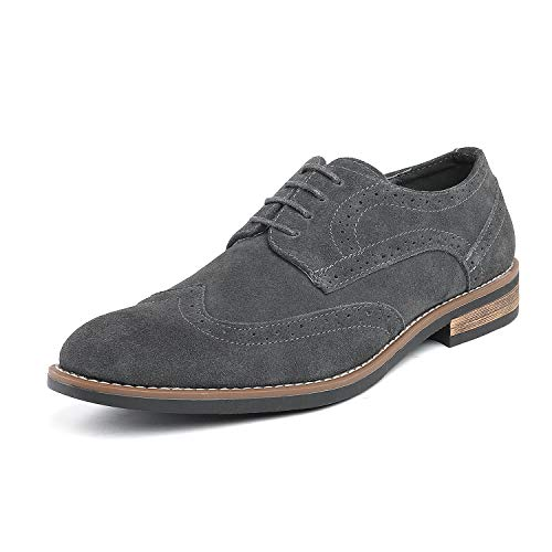 Bruno Marc Men's URBAN-03 Grey Suede Leather Lace Up Oxfords Shoes - 9.5 M US