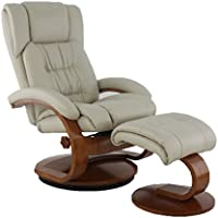 Mac Motion Oslo Collection Recliner with Matching Ottoman in Beige Breathable Air Leather with Alpine Frame