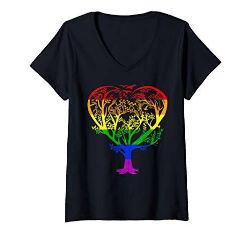 (Womens LGBT Gay Pride Rainbow Flag Gift - Symbol of Life Tree Heart V-Neck T-Shirt)