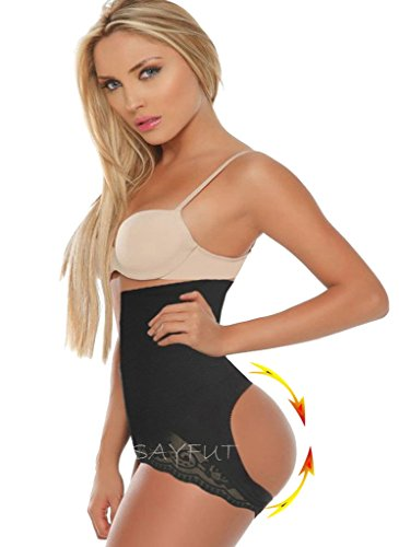 SAYFUT Women Shapewear Butt Lifter Waist Cincher Boy Short Tummy Control Panty, Black,M/L (Butt Lifter Waist Shaper compare prices)