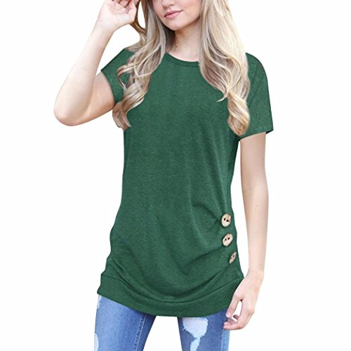Price comparison product image SanCanSn Mother's Day Casual T-Shirt, Women Loose Button Trim Blouse Solid Color Round Neck Tunic Short Sleeve T-Shirt (XL,  Green)