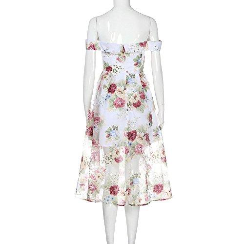spalla Summer multicolore Amuster lungo Off floreale stampa abito Women 7tdpf6d