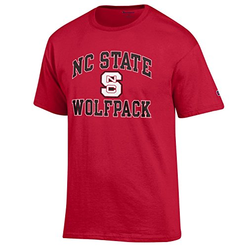 Champion NCAA Men's Shirt Short Sleeve Officially Licensed Team Color Tee, NC State Wolfpack, Small