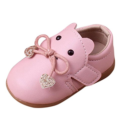 Huhu833 Kinder Mode Baby Schuhe Soft Sole, Baby Kleinkind Karikatur Leder Einzelne Schuhe Beiläufige Flache Schuhe (0~18 Month) Rosa