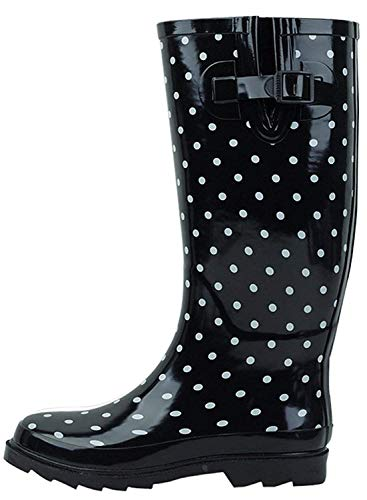 G4U Women's Rain Boots Multiple Styles Color Mid Calf Wellies Buckle Fashion Rubber Knee High Snow Shoes (9 B(M) US, Black Dots-ST) - Wellies Plain