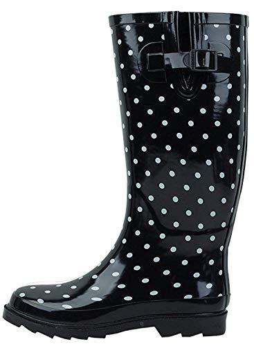 G4U Women's Rain Boots Multiple Styles Color Mid Calf Wellies Buckle Fashion Rubber Knee High Snow Shoes (10 B(M) US, Black ()
