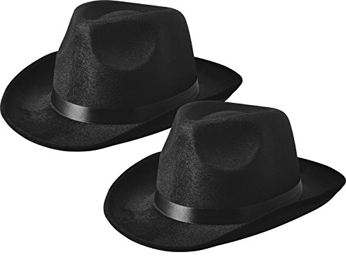 NJ Novelty - Fedora Gangster Hat, Black Pinched Hat Costume Accessory, Set of 2
