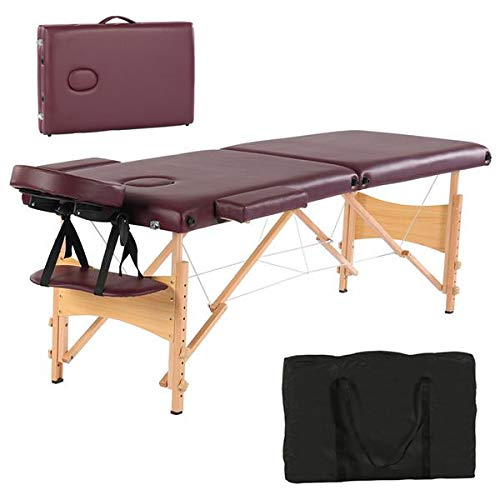 Simply-Me Massage Table Massage Bed 84 Inch 2 Folding Portable Beech Leg Beauty Massage Table Height Adjustable Spa Bed Facial Salon Tattoo Bed w/Carry Bag