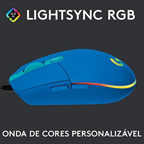 Mouse Gamer Logitech G203 LIGHTSYNC RGB, Efeito de Ondas de Cores, 6 Botões Programáveis e Até 8.000 DPI - Azul