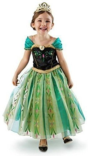 About Time Co Princess Girls Snow Queen Green Fancy Dress Halloween Costume Party Outfit (4-5 Years)