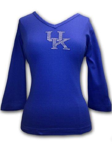 NCAA Kentucky Wildcats Women's V-Neck 3/4 Sleeve Knit Pullover T-Shirt with Rhinestone Embellished UK Logo, Royal, (Embellished Medium Sleeve)