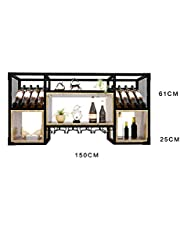 Wine Rack, Wrought Iron high Glass Rack European Wall Hanging Restaurant bar Hanging Display Stand (Size : 150 * 25 * 61cm)