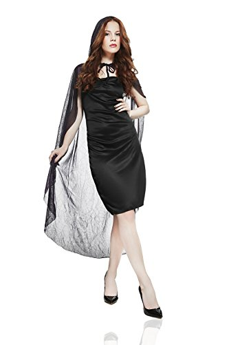 Vampira Sexi Costume (Adult Women Witch Costume Dark Fairy Halloween Cosplay Role Play Hood Dress Up (Small/Medium, Black,)