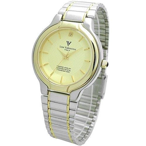 Izax Valentino watch round type 1P natural diamond metal watch Gold IVG-650-5 Men's