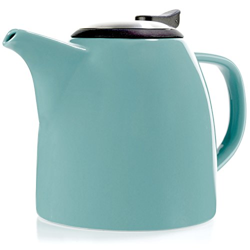 Tealyra - Drago Ceramic Teapot Turquoise - 37oz (4-6 cups) - Large Stylish Teapot with Stainless Steel Lid and Extra-Fine Infuser To Brew Loose Leaf Tea - Dishwasher-safe - BPA and Leed-Free - 1100ml (Saucer Extra Large Cup And)